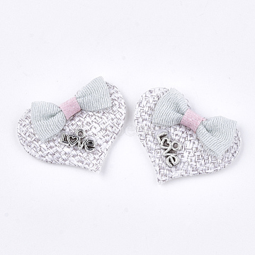 Handmade Cotton Cloth Costume Accessories, with Alloy Findings, Heart with Word Love, For Valentine's Day, WhiteSmoke, 28~31x39x7~9mm(X-FIND-T021-19C)