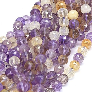 Natural Ametrine Beads Strands, Faceted, Round, 10mm, Hole: 0.8mm; about 40pcs/strand, 14.9 inches(38cm)(G-O180-11-10mm)
