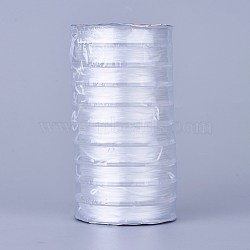 Strong Stretchy Beading Elastic Thread, Flat Crystal Jewelry String for Jewelry Making, White, 0.8mm; about 10m/roll(EW-N002-01)