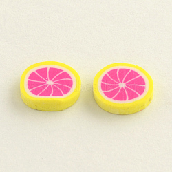 Cabochons en argile polymère pour la fabrication de clous d'oreilles manuels, fruit, magenta, 9~10x1.5~2mm(X-CLAY-R057-17L)