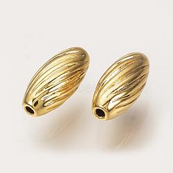 Perles ondulées en laiton, véritable 18k plaqué or, ovale, 7x3mm, Trou: 1mm(X-KK-Q735-281G)