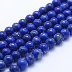 Natural Lapis Lazuli Beads Strands, Grade AB, Round, 4mm, Hole: 1mm; about 94pcs/strand, 15.5''(39.5cm)