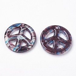 Handmade Silver Foil Glass Big Pendants, Peace Sign, SkyBlue, 25~50x4~7mm, Hole: 3mm(X-FOIL-SLNE046-6)