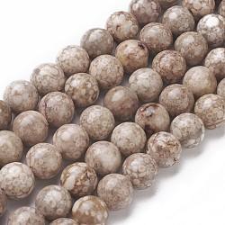 Chapelets de perles en pierre de chrysanthème naturel, rond, 10~10.5mm, trou: 1mm; environ 38 pcs/chapelet, 14.9'' (38 cm)(G-F563-02-10mm)