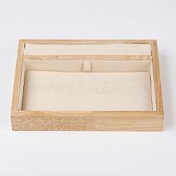 coffrets de présentation de bijoux en bois, avec faux suède, 2 compartiments, rectangle, peachpuff, 20x15x3.5 mm(ODIS-E013-02A)