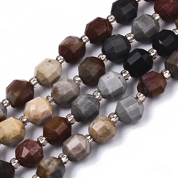 Natural Picasso Stone/Picasso Jasper Beads Strands, Oval, Faceted, 6x5~6mm, Hole: 0.8mm; about 51~53pcs/strand, 14.57 inches~15.15 inches(37~38.5cm)(G-N328-017)