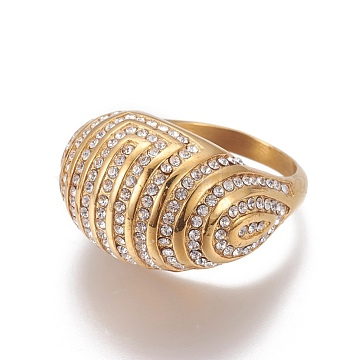 304 Stainless Steel Finger Rings, with Rhinestones, Crystal, Golden, Size: 9~10; 19~20mm(RJEW-E157-10G)