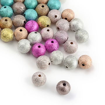 Spray Painted Acrylic Beads, Matte Style, Round, Mixed Color, 4mm, Hole: 1mm(X-ACRP-Q018-4mm-M)
