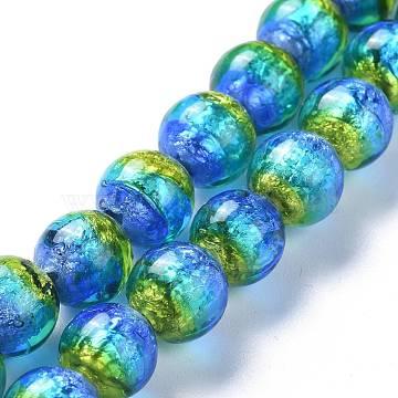Handmade Silver Foil Lampwork Beads, Luminous, Round, Blue, 10mm, Hole: 1.4mm(X-FOIL-K001-02A-10mm)