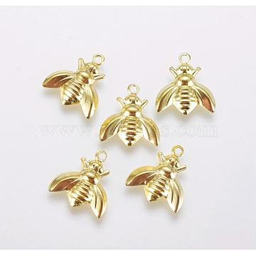 Iron Charms, Beetle, Golden, 13x12x1.5mm, Hole: 1.2mm(X-IFIN-F158-62G)