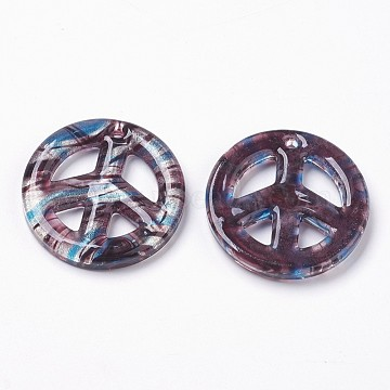 main feuille d'argent verre gros pendentifs, signe de paix, skyblue, 25~50x4~7 mm, trou: 3 mm(X-FOIL-SLNE046-6)
