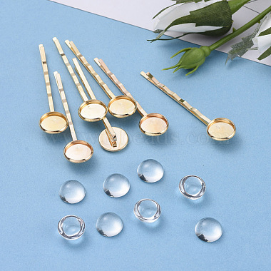 Clear Flat Round Iron+Glass Hair Bobby Pin