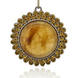 Argent antique alliage chalumeau grands pendentifs, avec topaze strass, plat rond, verge d'or, 68x64x12mm, Trou: 4mm(PALLOY-J301-01AS)
