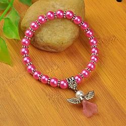 """Bracelets d'ange belle avec robe de mariée pour les enfants, bracelets carnaval extensibles, avec verre perles de nacre et de perles de style tibétain, hotpink, 1-3/4"""" (4.5 cm)(X-BJEW-JB00727-07)"""