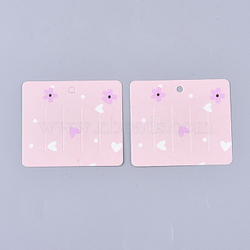 Cardboard Hair Clip Display Cards, Rectangle with Flower Pattern, Pink, 6x6.9x0.03cm, Hole: 4mm(CDIS-S028-04)