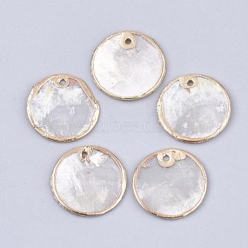 Electroplate Capiz Shell Pendants, Flat Round, Light Gold, 18x1mm, Hole: 1.2mm(X-SHEL-T012-07B)