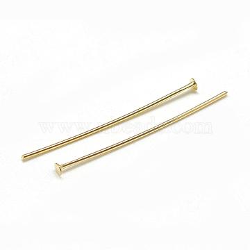 Brass Flat Head Pins, Real 18K Gold Plated, 50x0.8mm, Head: 2mm(X-KK-T032-093G)