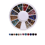 Pointed Back Glass  Rhinestones, For Nail Art Decoration Accessories, Diamond Shape, Mixed Color, 2mm; 3mm
