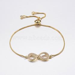 bracelets réglables en laiton à micro-pavé de zircons cubiques, bracelets de slider, avec des chaînes de boîte en laiton, infini, or, 10-5 / 8 (270 mm)(BJEW-F302-11G)