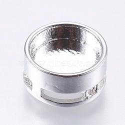 Paramètres de cabochon de perle en laiton, plat rond, Breloques coulissants, platine, plateau: 10 mm; 12x6 mm, Trou: 1mm(KK-I611-12mm-01P)