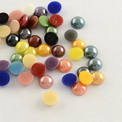 Pearlized покрытием ручной работы фарфора кабошоны, полукруглые / купольные, разноцветные, 13~14x5~5.5 мм(X-PORC-S801-14mm-M)