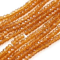 perles de verre brins, facettes, rondelle, d'orange, 3x2 mm, trou: 0.8 mm, environ 200 pcs / brin, 15.27 (38.8 cm)(GLAA-XCP0011-03)