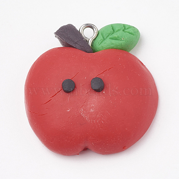 Handmade Polymer Clay Pendants, with Iron Findings, Apple, Platinum, Red, 28x27x11mm, Hole: 2mm(X-CLAY-T012-05)