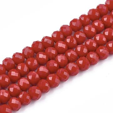 Opaque Solid Color Faceted Glass Beads Strands, Rondelle, DarkRed, 4x3mm, Hole: 1mm; about 130~140pcs/strand, 18.1inches(X-EGLA-J047-4x3mm-06)
