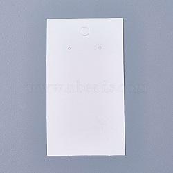 Cartes d'affichage en papier, utilisé pour boucles d'oreilles, rectangle, blanc, 90x50x0.1mm, Trou: 1~5mm(CDIS-TAC0001-01A)