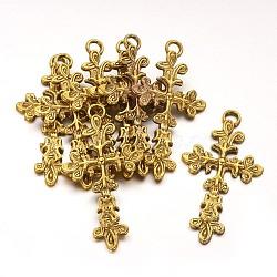 Pendentifs tibétains d'or antique, sans plomb et sans cadmium, croix, Longueur 47.5mm,  largeur de 25 mm, épaisseur de 3mm, Trou: 2.5mm(GLF1360Y)