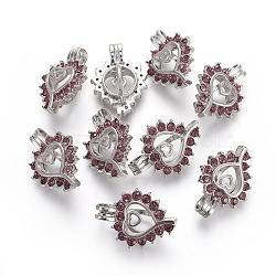 Pendentifs en strass, avec les accessoires en laiton plaqués de platine, cœur, améthyste claire, 25.5x18.7x10mm, Trou: 4.5x3mm(KK-L181-001-P)