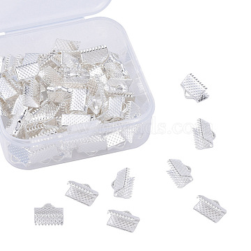 Iron Ribbon Crimp Ends, Lead Free, Silver, 7x10mm, Hole: 2mm, 100pcs/box(IFIN-YW0001-13S-LF)
