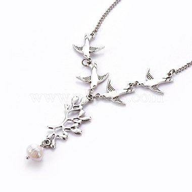Tibetan Style Alloy Branch and Leaves Pendant Necklaces(X-NJEW-JN00751)-3