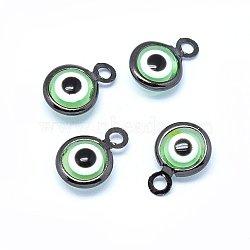 Breloques vernissées de mauvais œil manuelles, avec les accessoires en laiton, plat rond, lightgreen, gunmetal, 10x6.5x3mm, Trou: 1.5mm(KK-F764-13B-03)