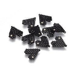 Perles rocailles japonaises manuelles, avec fil d'importation japon, motif de tissage, cœur, noir, 13.5x13~13.5x2mm(SEED-P003-08C)
