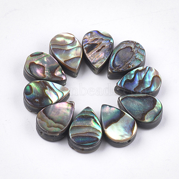 Abalone Shell/Paua Shell Beads, teardrop, Green, 12x8x3.5~4mm, Hole: 1mm(X-SSHEL-T008-08)
