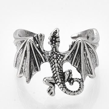 Alloy Cuff Finger Rings, Wide Band Rings, Pterosaur, Antique Silver, Size 10, 20mm(RJEW-T008-03)