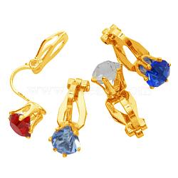 Clip environ boucles d'oreilles en laiton, dorée, environ 8.5 mm de large, Longueur 18mm(X-PFE005-G)