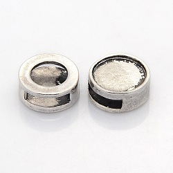 Breloques coulissantes supports de cabochon en alliage de style tibétain, plat rond, sans nickel, argent antique, plateau: 12 mm; 15x6 mm, Trou: 3x10mm(PALLOY-J417-03AS-NF)