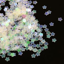 Accessoires ornement de perles de paillette fleurs en plastique, perles de paillettes, pas de trous / non percés, pearlpink, 3x0.3 mm(X-PVC-Q027-319)