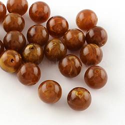 Perles rondes en acrylique d'imitation pierre précieuse, marron, 8mm, Trou: 2mm(X-OACR-R029-8mm-19)