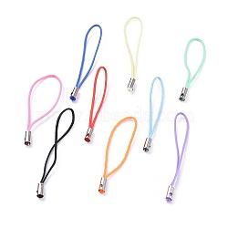 Ремешок для мобильного телефона, красочные поделки сотовый телефон ремни, нейлоновый шнур петля с латунными концах, платина, разноцветные, 45 мм(SCW00M)