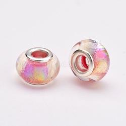 Perles européennes rondes avec grand trou en résine, avec des noyaux de laiton de ton argent, hotpink, 14x9mm, Trou: 5mm(RPDL-J007-04)