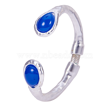 Alloy Cuff Bangles, with Resins & Iron Spring Findings, Matte Style, Cadmium Free & Nickel Free & Lead Free, teardrop, 925 Sterling Silver Plated, Blue,  2-1/4 inches(56mm)(BJEW-Q695-25MS-02-NR)