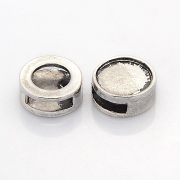 Antique Silver Flat Round Alloy Slide Charms