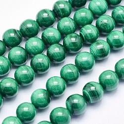 malachite naturelles brins de perles, arrondir, 6 mm, trou: 1 mm; environ 63 perle / brin, 15.7 (40 cm)(G-O166-07A-6mm)