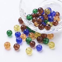 Perles de verre craquelé peintes, halloween mix, rond, couleur mixte, 8~8.5x7.5~8mm, trou: 1 mm; environ 100 PCs / sachet (DGLA-X0006-8mm-07)