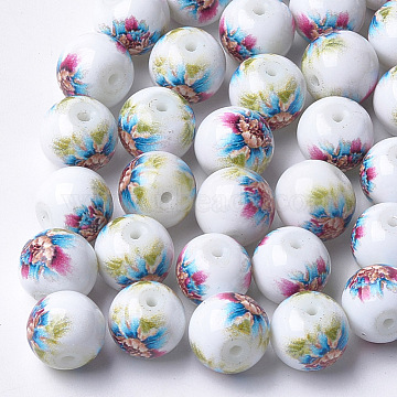 Printed & Spray Painted Glass Beads, Round with Flower Pattern, Colorful, 8~8.5x7.5mm, Hole: 1.4mm(GLAA-S047-02A-03)