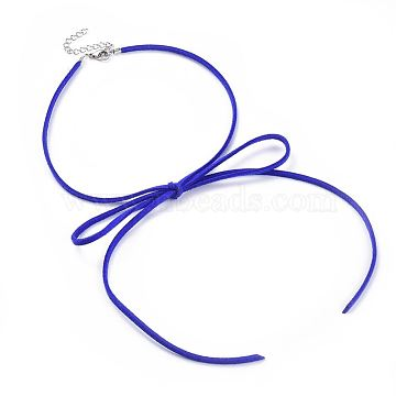 304 Stainless Steel Necklaces, with Eco-Friendly Faux Suede Cord, Lobster Claw Clasps and Iron Findings, Bowknot, Blue, 13.3~13.7 inches(34~35cm) long, 3mm(NJEW-JN02462-06)