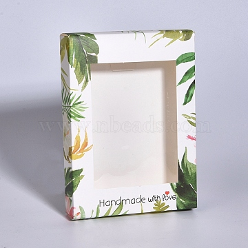 Foldable Creative Kraft Paper Box, Paper Gift Box, with Clear Window, Rectangle with Flamingo Pattern, White, 14.6x10.5x2.6cm(X-CON-G007-04A-03)